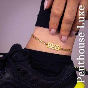 1990-99 Birth Year Retro Gold Ankle Bracelet